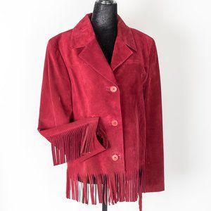 NWOT Danier burgundy suede fringe jacket - sz 8/10